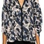 TROPICAL FLORAL BATWING BLOUSE tunic top-18 20 crepe chiffon evening party plus