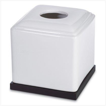 BLACK & WHITE CERAMIC TISSUE BOX  Item #37560