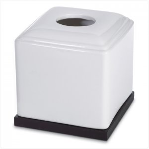BLACK & WHITE CERAMIC TISSUE BOX  Item #37560