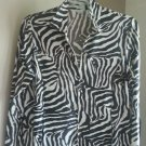 Laura Ashley Petite PL Zip Jacket Top Black Snake Skin Animal Print Wet Look