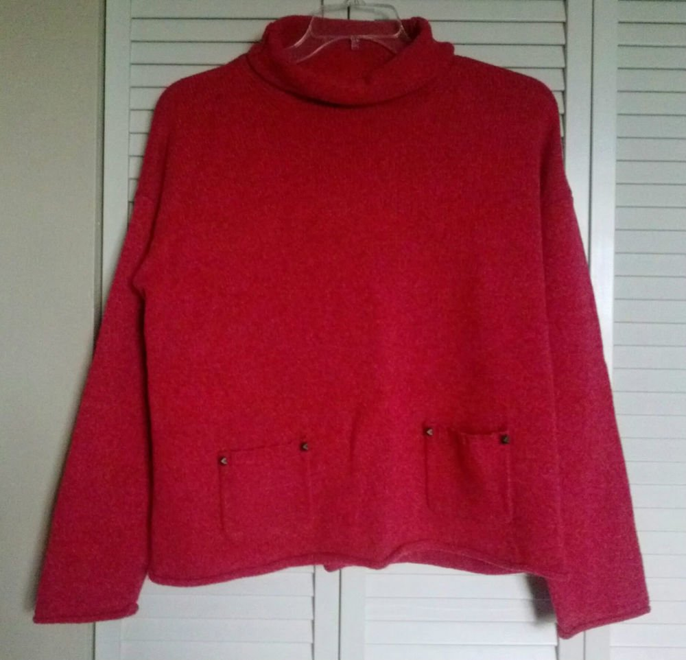 DKNY Jeans XL Cotton Acrylic Wool Dark Pink / Red Pullover Pocket Sweater Top