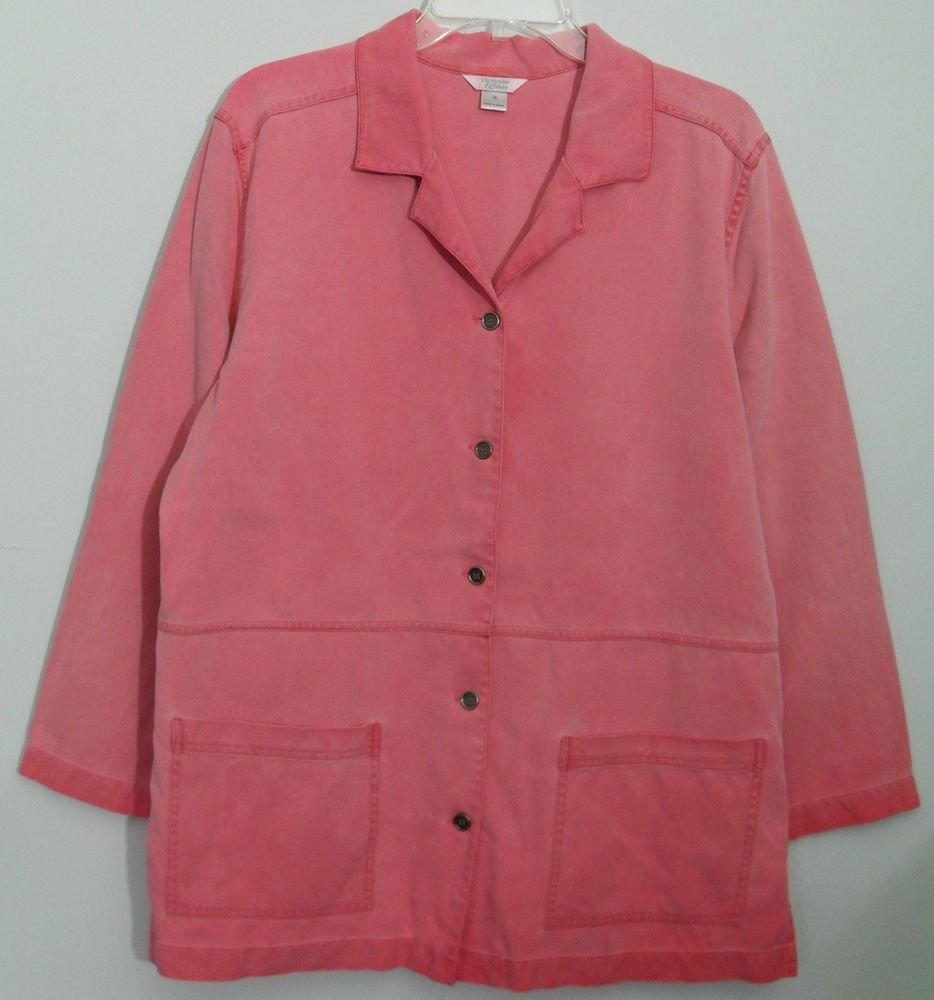 Christopher & Banks Womens Medium Pink Oeange Coral Silk Jacket Patch Pockets