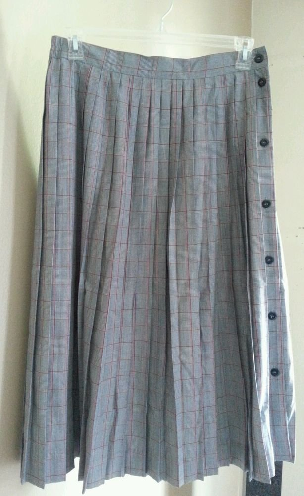 Worthington Pleated Plaid Red White Navy Blue Side Button Down Skirt Size 16