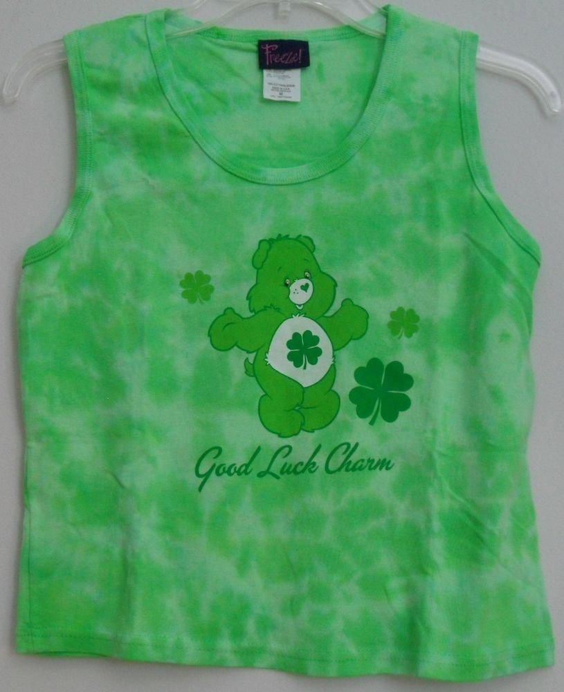 Freeze Care Bears Good Luck Charm Bear Green Clover Tie Dye Juniors Medium Shirt