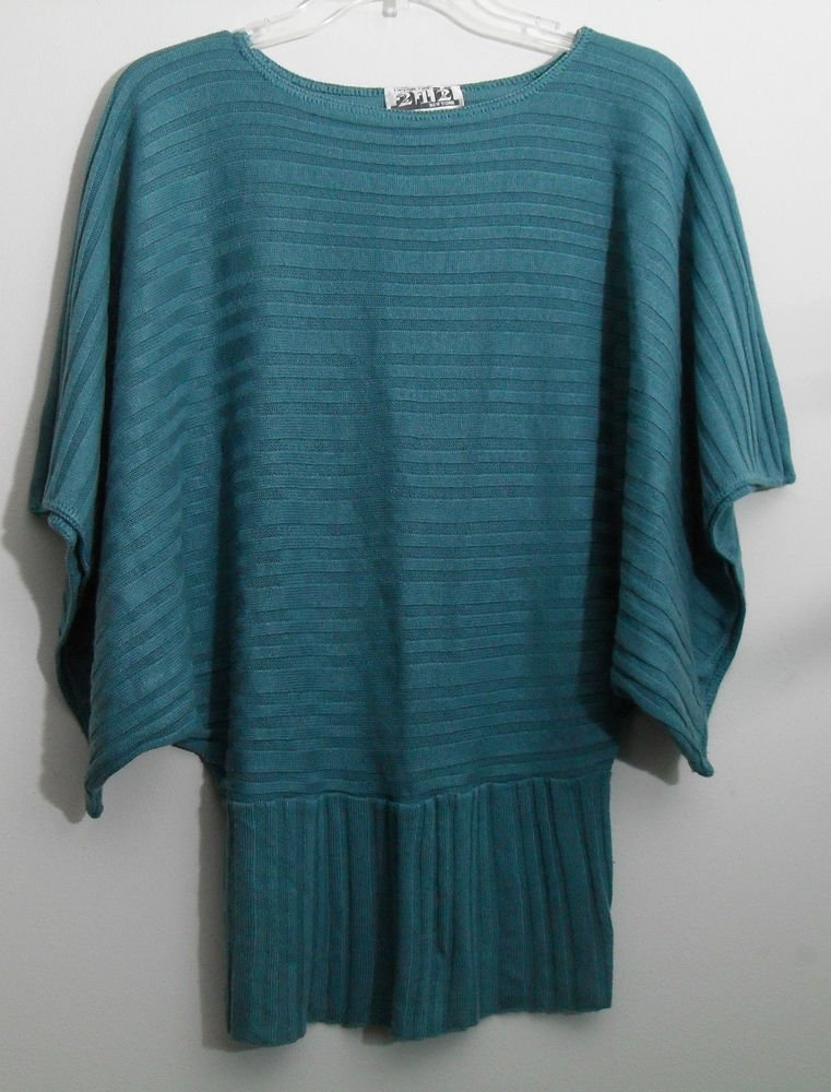 Two One Two 2-1-2 New York Teal Dolman Batwing Knit Sweater Pullover Top Small