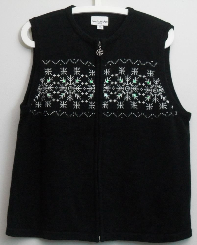 Breckenridge PXL Black White Snowflake Sweater Vest Beads Sequins Ramie Cotton