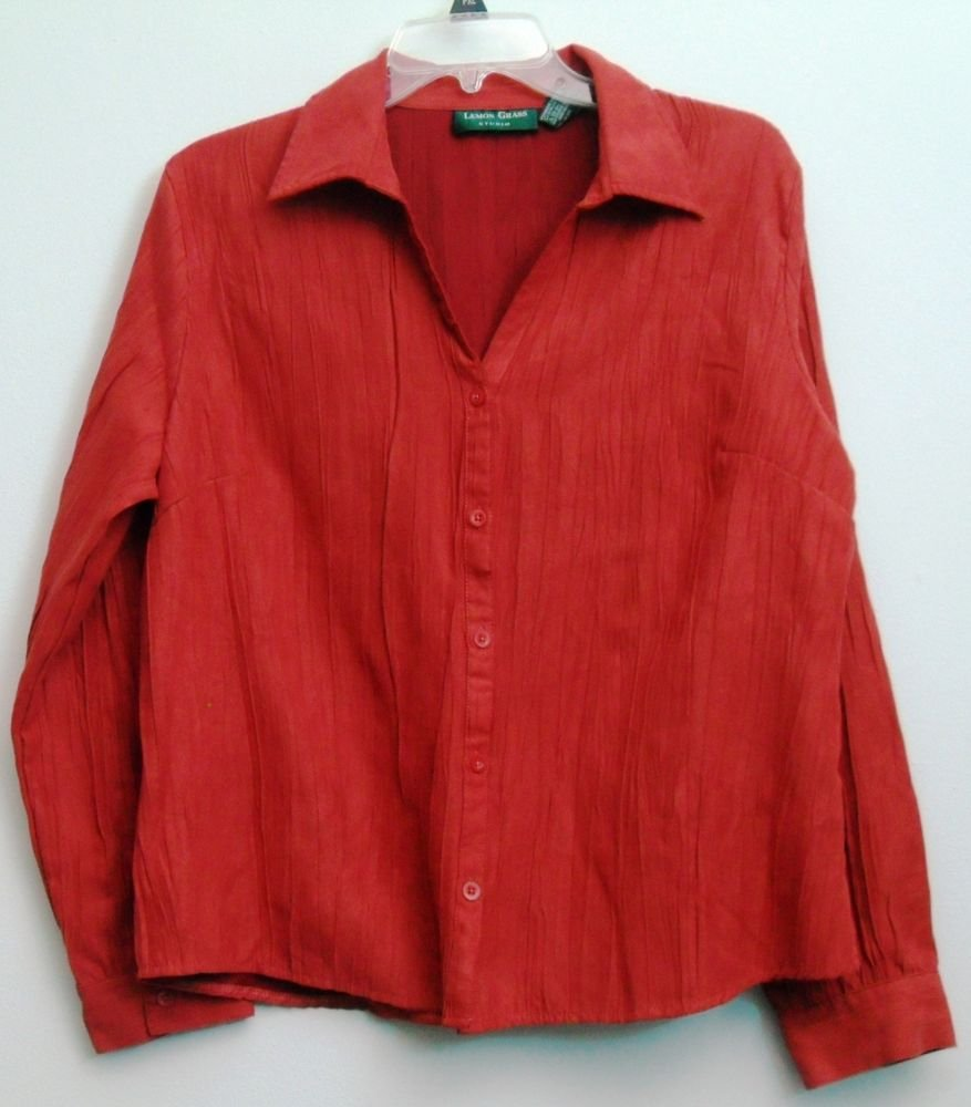 Lemon Grass Studio Brick Red Button Down Blouse XL Collared Shirt Ruffled Look