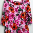 Avenue Plus 14/16 Pink Orange Red Green Flower Leaf Pattern Boat-Neck Blouse