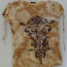 F.A.N.G. Juniors Large Orange Tie Dye Style Sparkle Rose Embroidery Adjustable S