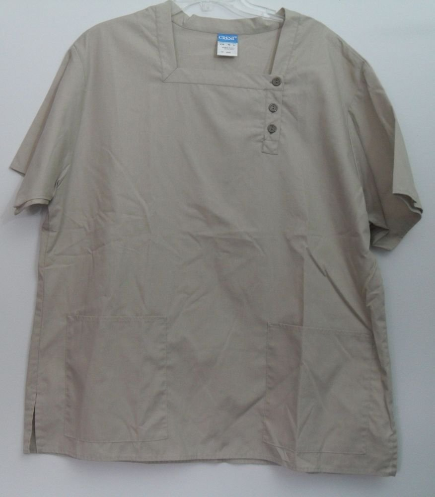 Crest Womens Large Beige Scrub Top Short Sleeve 3 Button Front Closure 2 Pockets