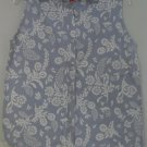 Liz & Co. Blue White Floral Pattern Sleeveless Top Button Front Size Medium