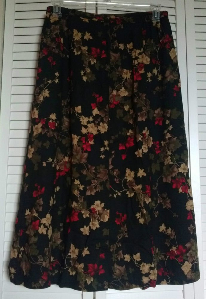 Sag Harbor Petite Size 14 Black w/ Multi Color Floral Print 100% Rayon Skirt