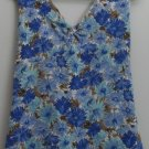Covington L 14/16 Blue Brown Flower Twisted Front Crossover Back Halter Tank Top