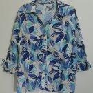 JM Collection Blue Button Down Floral Pattern 100% Linen Split V-Neck Top Sz 18W