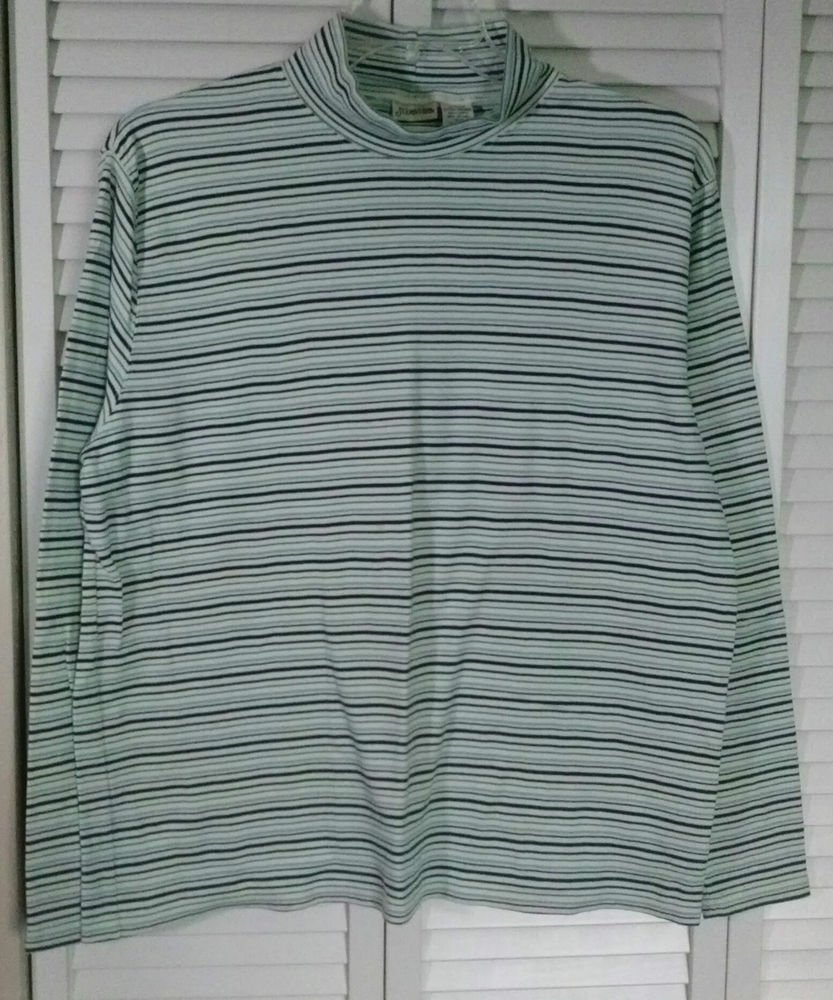 St. John's Bay XL Striped Cotton Stretch Mock Turtleneck Pullover Top
