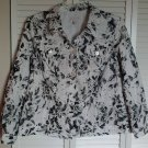 JM Collection 18W 18 Woman Floral Black White Eyelet Jean Style Pocket Jacket