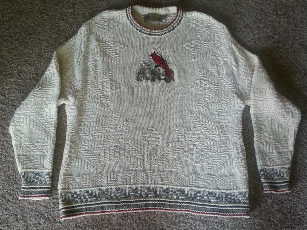 Shenandoah Cable Knit Off White w/ Gray Red Sweater Embroidered Cardinal Bird XL