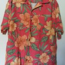 Caribbean Joe Let Go Floral Red Orange Green Leaves Button Front LT Chest Pocket
