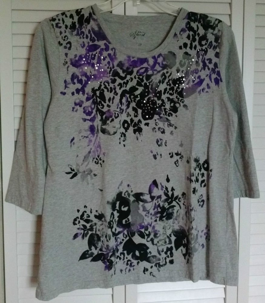 Style & Co Sport Gray Tee Watercolor Purple Black Silver Rhinestone Studs Large