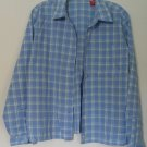 Gloria Vanderbilt White/Blue Checkered Button Down Collared Long Sleeve 1 Pocket