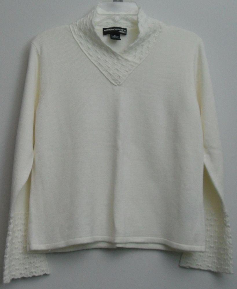 Norton McNaughton Petites PL Off-White Cream Crocheted Bell Sleeves & High Neck
