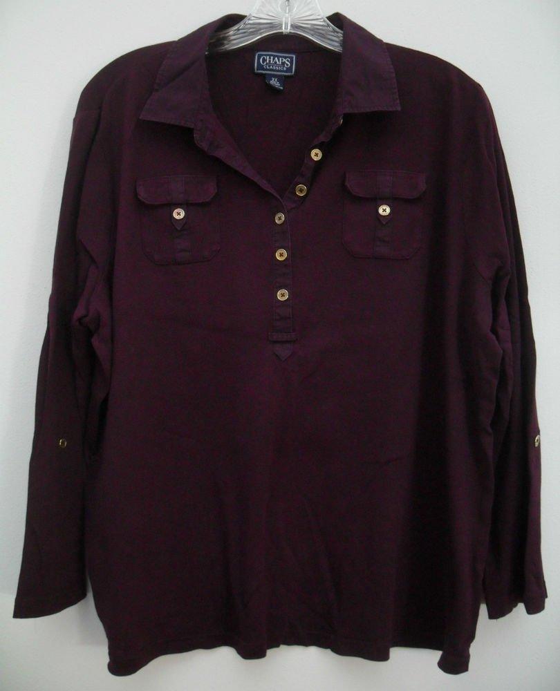 Chaps Classics Womens Plus 2X Deep Dark Purple 2 Chest Pocket Button Fold Sleeve