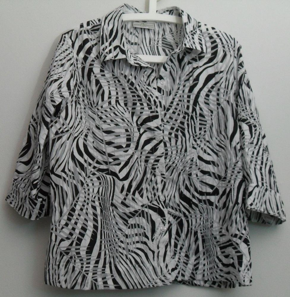 Studio Works PXL Blouse Black White 3/4 Sleeve Semi Sheer Burnout Crinkle Blouse