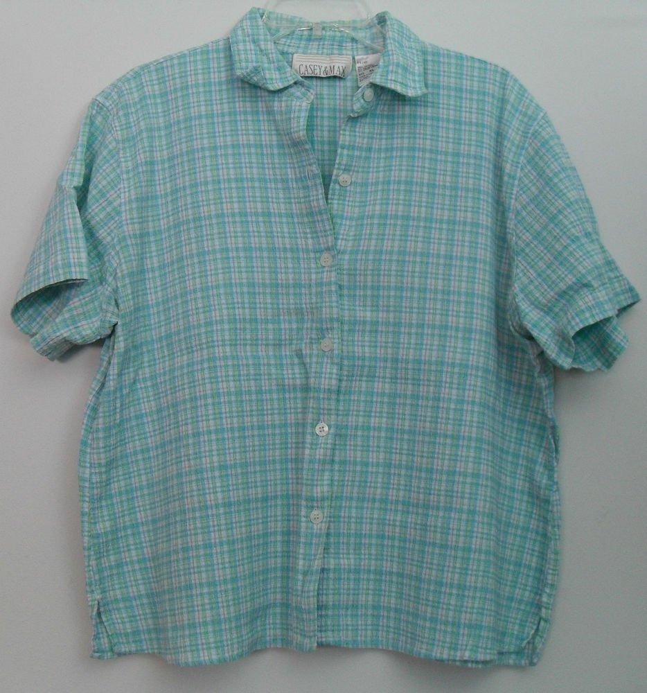 Casey & Max Blue White Yellow Striped Crosshatch Pattern Short Sleeve ButtonDown