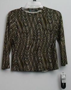 NWT Coolwear USA Juniors L Large Olive Swirl Long Sleeve Shirt Blouse Colorful