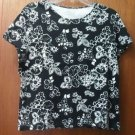 Croft & Barrow Misses Petite Large Pima Cotton Black & White Flower Print Top