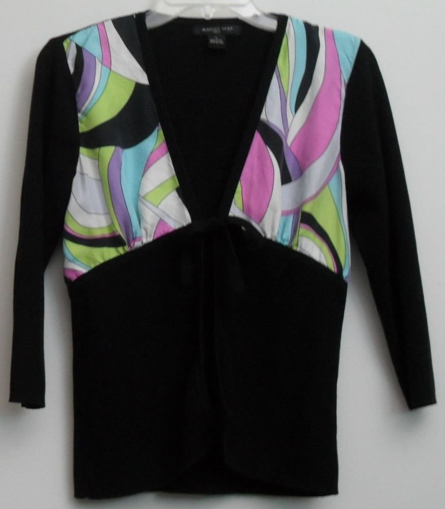 August Silk Knits Open Cardigan Tie to Close Black Pink Green Blue Purple Large