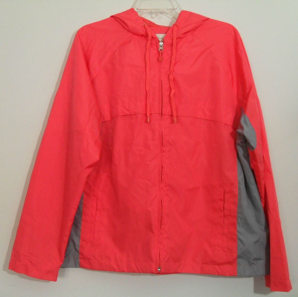 Studio Works Pink/Red Coral Zipper Front WindBreaker Hooded Jacket 2 Pockets