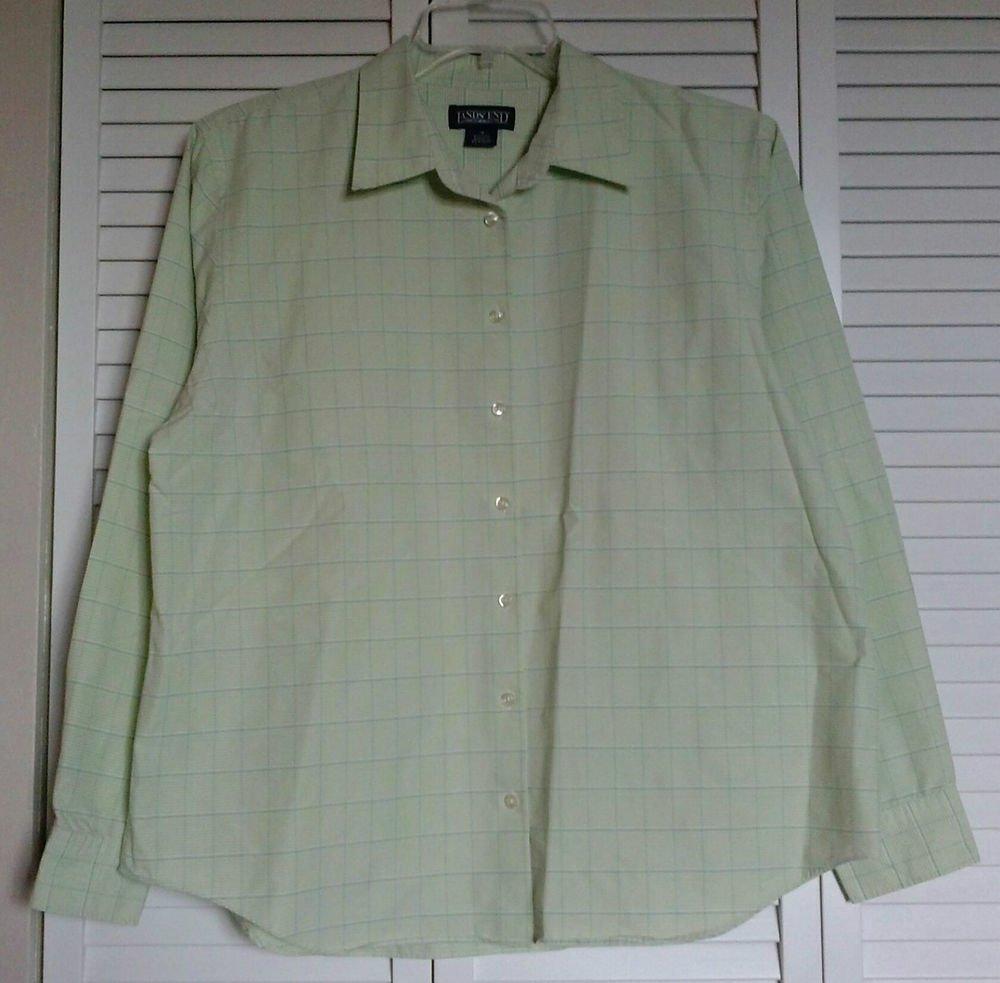 Lands End 18 Regular Green White Blue Checkered Stripe Check Button Down Shirt