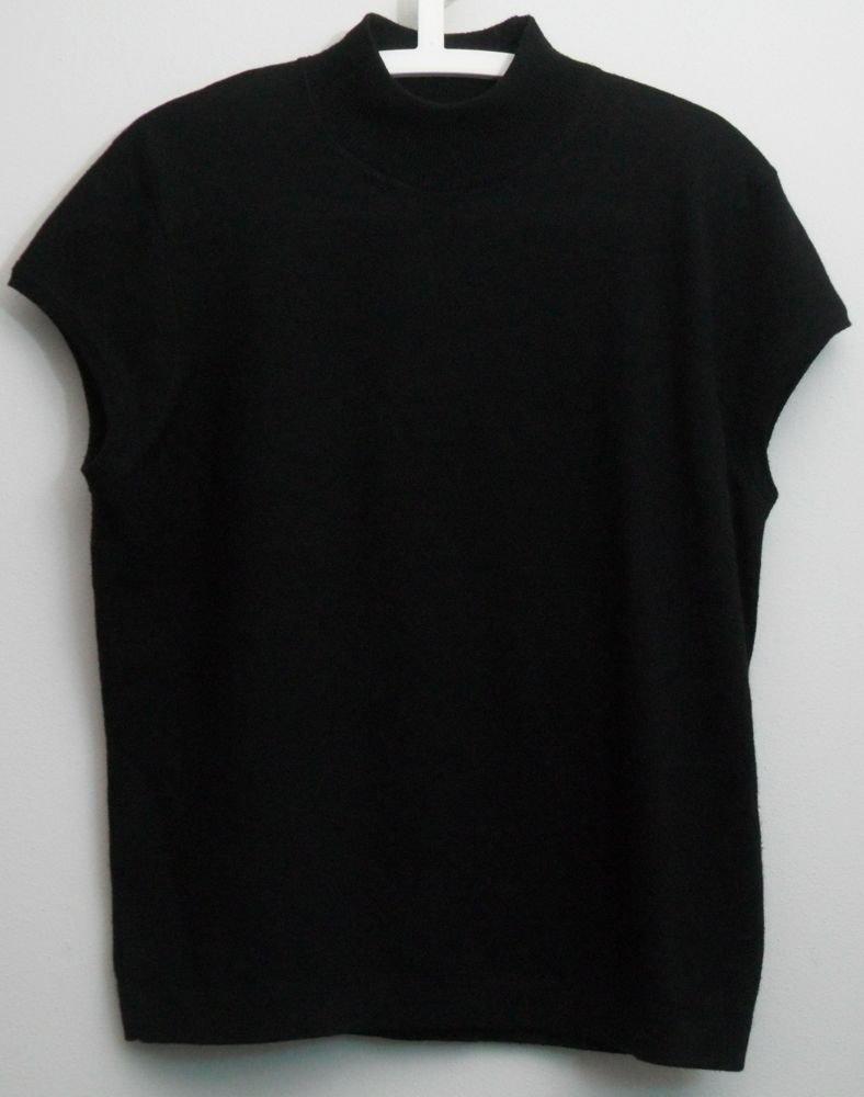 Jones New York  Black XL Cap Sleeve Pullover Sweater Top 100% Merino Wool