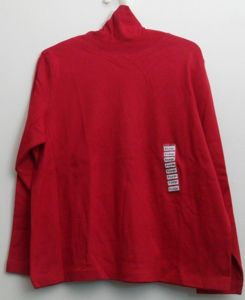 Leslie Fay Sport XL Red TurtleNeck Long Sleeve NWOT 100% Cotton Pullover Solids