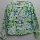 Cynthia Max Relax Large Blue Green V-neck Zipper Down Princess SeamPocket Jacket
