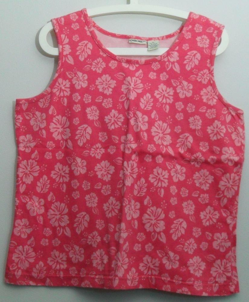 Cherokee XL 100% Cotton Floral Pattern Pink White Flowers Sleeveless Tank Top
