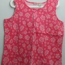 Cherokee XL 100% Cotton Floral Pattern Pink White Flowers Sleeveless Tank Top
