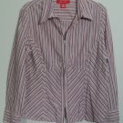 A-Line 18 Purple Vertical Stripe Blouse Split V-Neckline Zipper Front Hook Cuffs