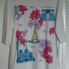 Only Necessities 1X White Tee Top w/ Iron On Paris Tourist Attractions & Flowers