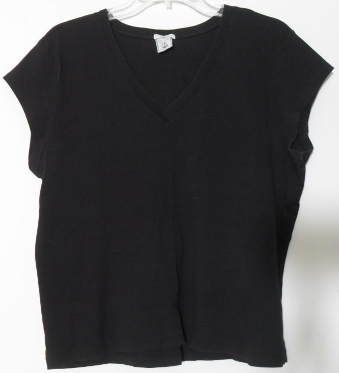 Old Navy Brand Perfect Fit XXL Solid Black V-Neck Short Sleeve Knit Top