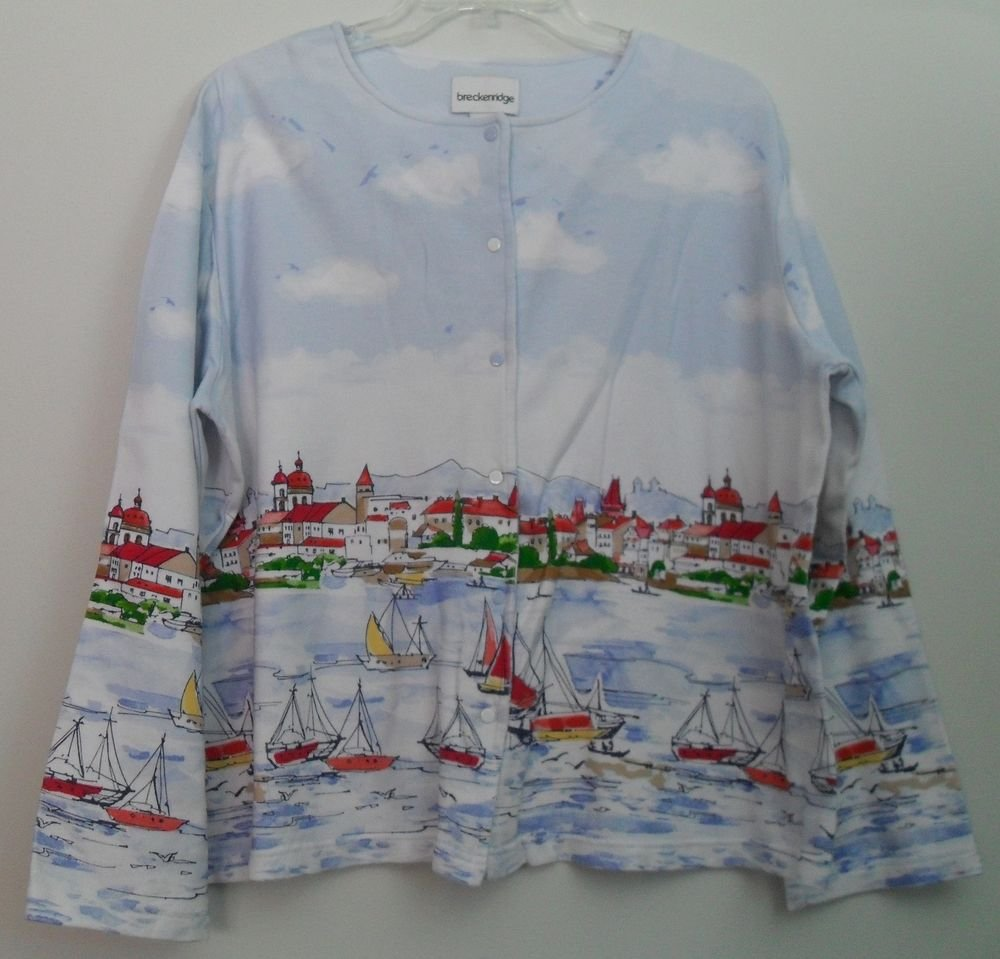 Breckenridge sz Large Snap Down Long Sleeve Birds Boat Sails Water Blue White