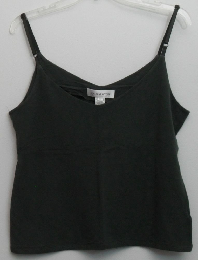 Jones New York L Large Rayon Spandex Dark Forest Green Adjustable Strap Tank Top