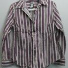 Chico's Size 1 Cotton Nylon Spandex Vertical Stripe Button Down Casual Small Top