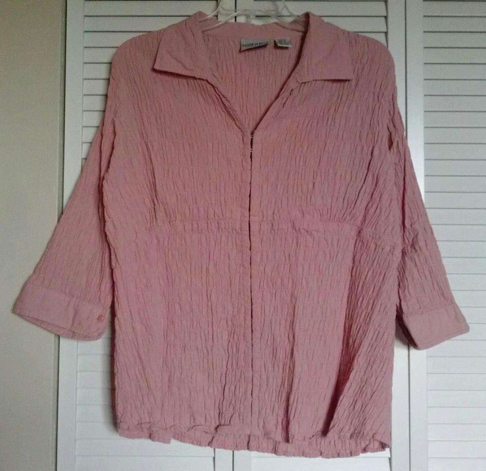 Fashion Bug 22 24 Pink Gathered Cotton Stretch Empire Waist Hook & Eye Blouse
