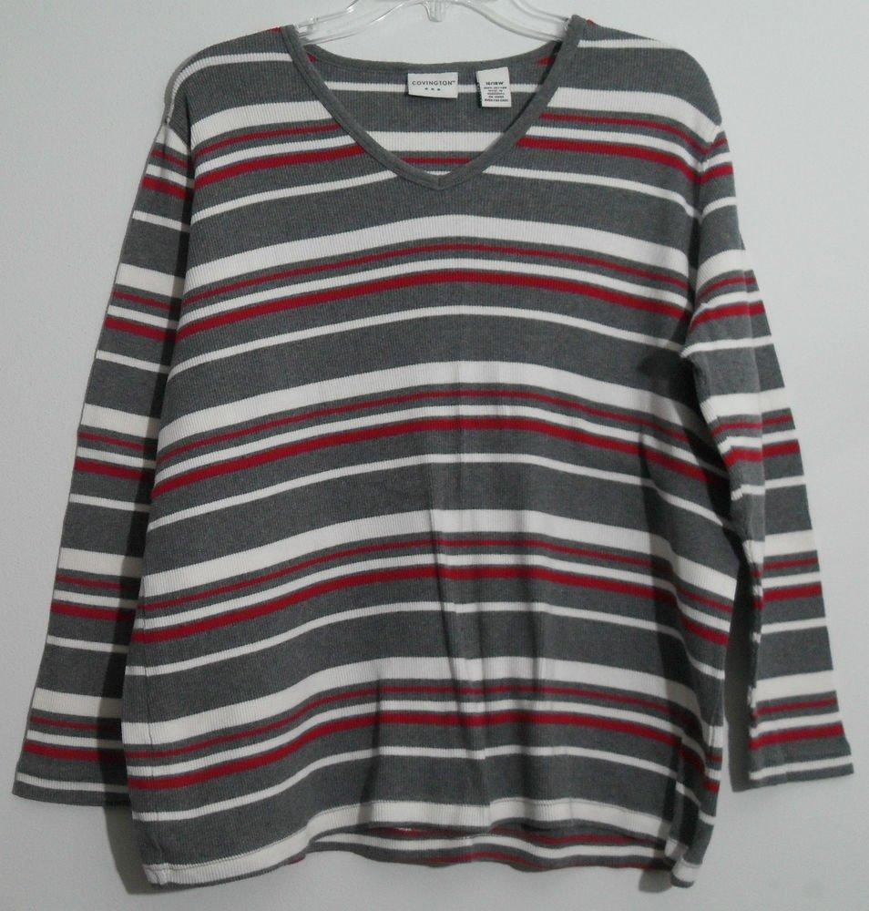 Covington 16 / 18 W Red White Gray Horizontal Striped Pullover V-Neck Sweater
