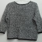 NortonMcNaughton Black & White Ramie Cotton Open Weave Pullover Sweater  XL
