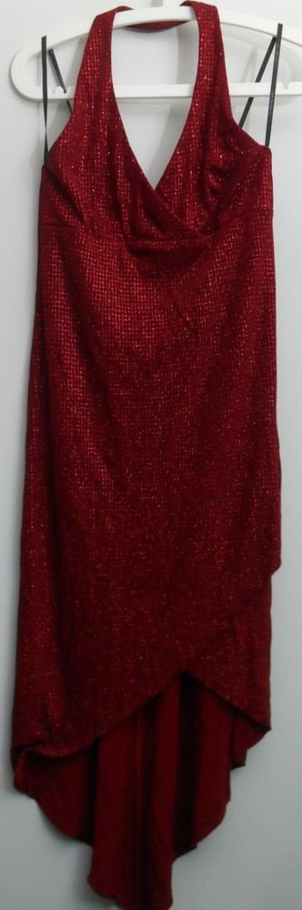 City Triangles Long Halter Size Large Dress Red Glitter Sparkly w Cut-Away Hem L