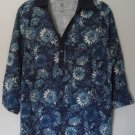 Studio Works Womens Plus 1X Half Button Floral Pattern 3/4 Sleeve Collar KnitTop