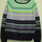IZOD Womens XL Colorful Striped Long Sleeve Knit Top Ribbed Hem Cuffs & Neckline